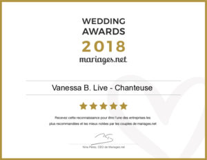 mariages.net - recompense - wedding awards - 2018 - vanessa b live