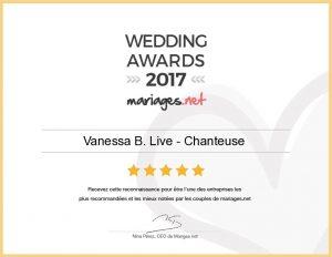 chanteuse - mariage - wedding awards - mariages.net - 2017 - PACA VAR